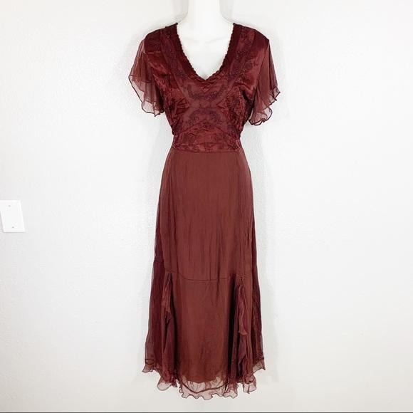 cb53c7ec32c NWT Nataya burgundy vintage inspired dress